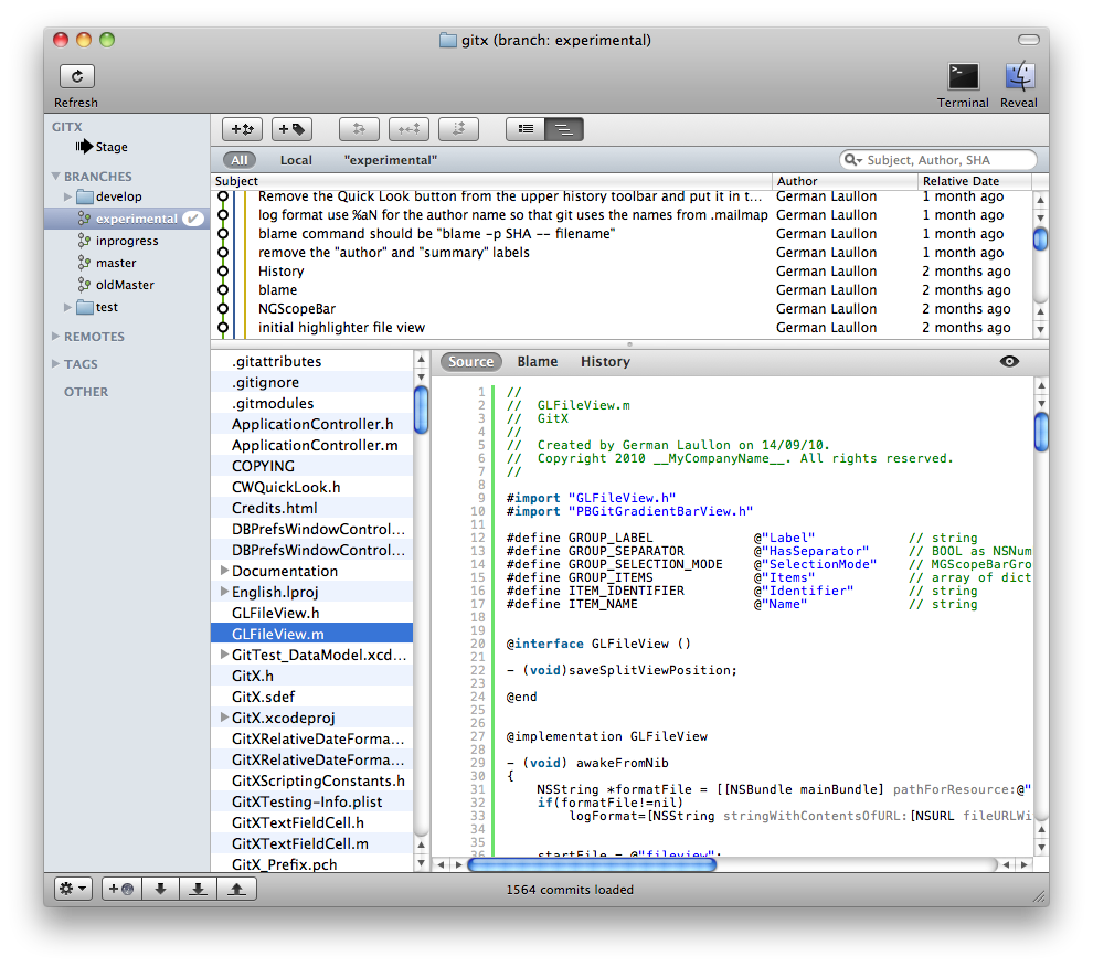 Screenshot of GitX source view